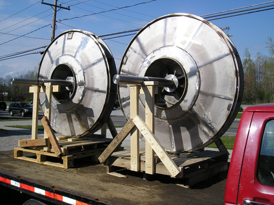 "Two 65"" diam. Buffalo HT Fan replacement 3xxSS/AL6XN alloy fan wheels and shafts ready for emergency delivery to a major North American paper plant."